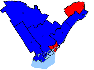 Canadian federal election results in Eastern Ontario - Map of the region's ridings in 2004. Colours show the result from the 2004 election