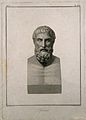 Epicurus. Line engraving by F. Copparoli after N. Vanni. Wellcome V0006501.jpg