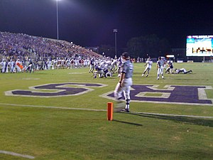 Central Arkansas Bears and Sugar Bears - Estes Stadium west side with players in action.