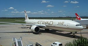 Etihad Airways Boeing 777-300ER at Brisbane in...
