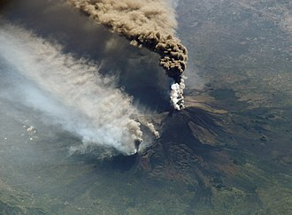 Decade Volcanoes - A large eruption at Mount Etna, photographed from the International Space Station