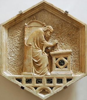 "Nino Pisano - ""Euclid"", panel from Giotto's Bell Tower, now in the Museo dell'Opera del Duomo, Florence"