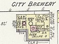 "Eugene ""City Brewery"" in August 1890 - Sanborn Fire Insurance Map from Eugene, Lane County, Oregon. LOC sanborn07358 004-12 (cropped).jpg"
