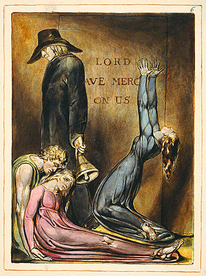 Europe a Prophecy - Plate six of Europe a Prophecy, copy K. The poem envisions a world filled with suffering, with imagery connected to the politics of 1790s Britain