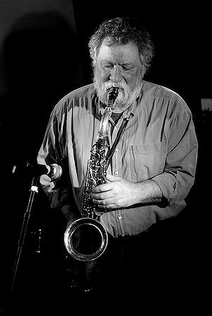 British saxophonist Evan Parker performing liv...