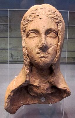 Ex-voto da stipe del cavone, testa femminile velata, III-II sec. ac. 01