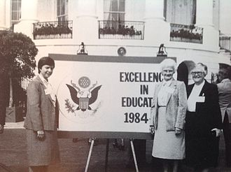 Divine Savior Holy Angels High School - Exemplary Private School Award presentation for DSHA at the White House in 1984. Left to right, Dr. Angela T. Pienkos, S. Janet Schewe BVM, S. Maureen Hopkins SDS