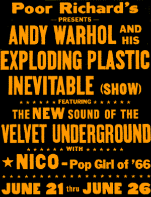 Exploding Plastic Inevitable - Promotional poster for the Exploding Plastic Inevitable in Chicago, June 21–26, 1966.