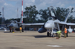 RAAF Base Amberley - A F-111 (since retired) and F/A-18F (right)