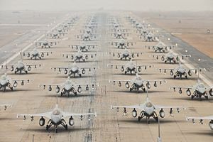 Republic of Korea Air Force - U.S. and South Korean F-16s demonstrate an 'Elephant Walk' as they taxi down the runway at Kunsan Air Base, South Korea in 2012.