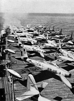 USS Sitkoh Bay - Sitkoh Bay transporting USAF F-84Es to Japan, 1951.