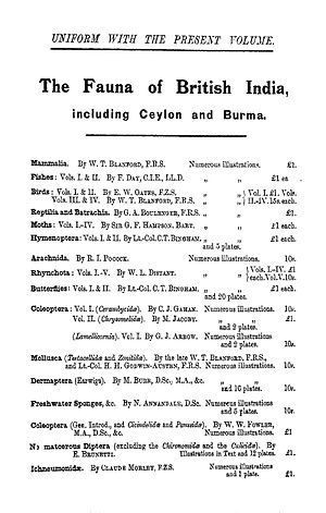 The Fauna of British India, Including Ceylon and Burma - List of publications in the series in 1914. Average of £1 for each volume