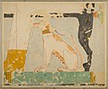 Facsimile of a painting in the tomb of Nebamun- dog seated beneath Its owner's chair MET 30.4.100 EGDP013020.jpg