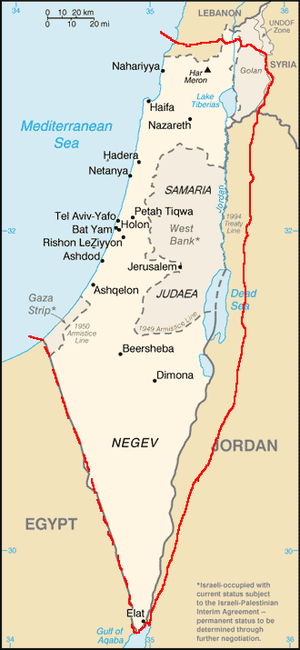 Map showing the boundaries of the Jewish state...