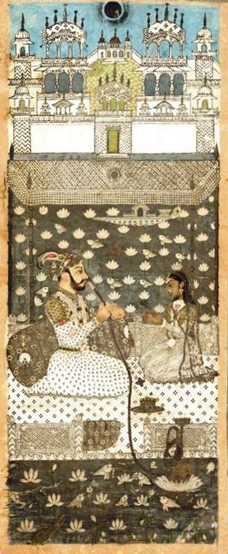 Farrukhsiyar - Moonlit portrait of Farrukhsiyar smoking a hookah with a female attendant