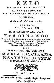 Ezio – Titelblatt des Librettos, Mailand 1782 (Quelle: Wikimedia)