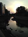 Fence of Kumamoto Castle and Tsuboigawa River at dusk.jpg