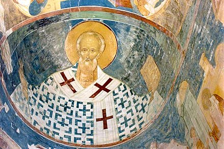 Saint Nicholas, the patron saint of Russian merchants. Fresco by Dionisius from the Ferapontov Monastery. Ferapontov.jpg