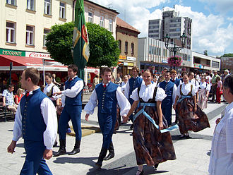 Polish minority in the Czech Republic - Olza group during the parade at the beginning of the Jubileuszowy Festiwal PZKO 2007 in Karwina.