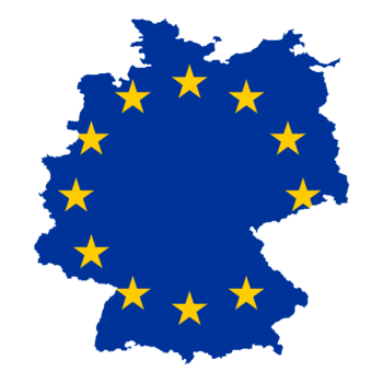English: Flag-Map of Germany EU