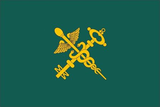 Customs flag of Belarus, with a Caduceus crossed with a golden key at the center