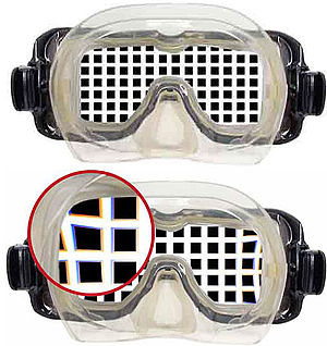 Underwater vision - Views through a flat mask, above and below water