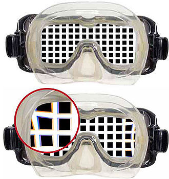 Underwater diving - Views through a flat mask, above and below water