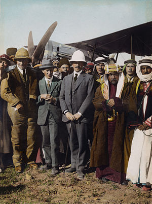 "Pith helmet - At the aerodrome in Amman, Emirate of Transjordan, Col. T. E. Lawrence (""Lawrence of Arabia"", left) and Sir Herbert Samuel (centre) wearing pith helmets, April 1921"