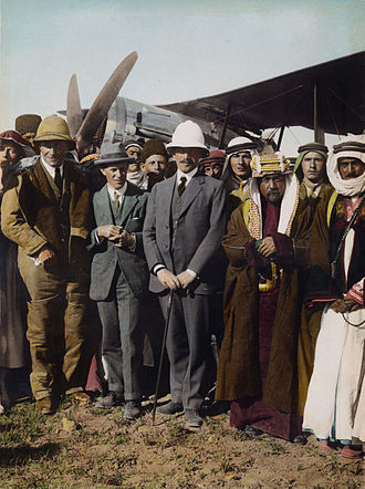 Herbert Samuel, 1st Viscount Samuel - TE Lawrence with Sir Herbert Samuel, Sheik Majid Pasha el Adwan (at far right) and Gertrude Bell (at left) at the aerodrome of Amman, April 1921