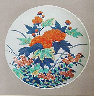 Overglaze decoration - Nabeshima ware plate with floral design, Arita, Japan, late 17th century, Edo period