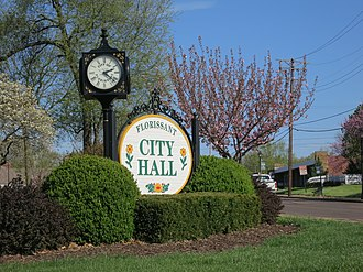 Florissant, Missouri - Florissant City Hall sign, April 2013