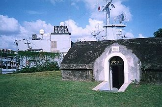 Fort-de-France - The frigate Ventôse can be seen behind the old fort
