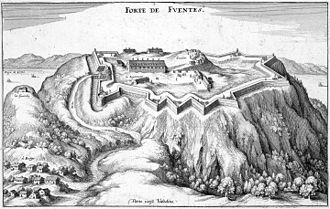 Fort Fuentes - Seventeeth-century print of the fort seen from the Valtellina, with Lake Como behind