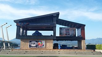 2015 FIFA Women's World Cup - Fox Sports' studio for the World Cup at Jack Poole Plaza; the tournament marked one of their first under a new broadcasting contract with FIFA.