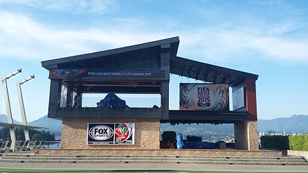 Fox Sports' studio for the World Cup at Jack Poole Plaza; the tournament marked one of their first under a new broadcasting contract with FIFA. Fox Sports studio in Vancouver for 2015 FIFA Women's World Cup (18875089463).jpg