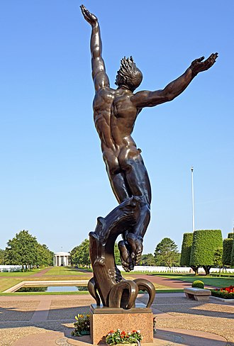 "Normandy American Cemetery and Memorial - Bronze statue depicting the ""Spirit of American Youth Rising from the Waves"""