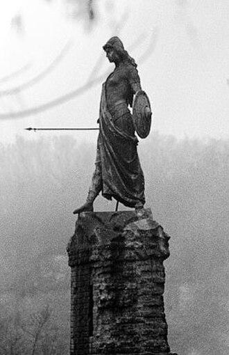 Virago - Bronze of a young female warrior in Lombard costume. Francesco Porzio, Monumento alla difesa di Casale, 1897