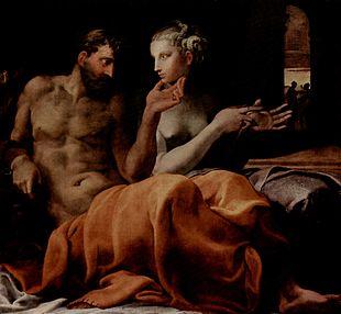 Penelope ed Ulisse nel talamo nuziale, 1563 ca, dipinto di Francesco Primaticcio, New York, Sammlung Wildenstein