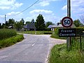Fresne-Cauverville (Eure, Fr) city limit sign Fresne.JPG