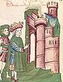 Friedrich I. vor der Stadt Tivoli (Tyburtinum), die er wieder aufbauen ließ.jpg
