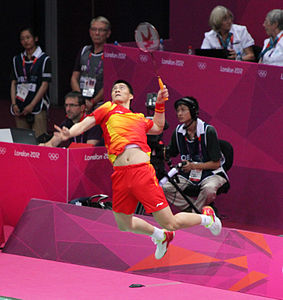 Fu Haifeng, Mens Doubles Badminton Final (8172656810).jpg