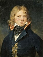 Painting of a man with long blonde hair wearing a black civilian coat.