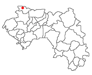 Location of Koundara Prefecture and seat in Guinea.