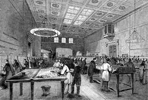 General Post Office - The Inland Letter Office at the General Post Office in 1845