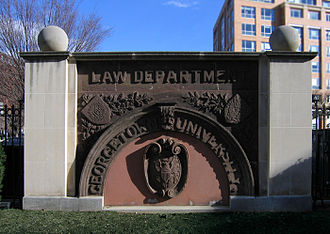 Georgetown Law - The school's original sign, preserved on the north quad of the present-day campus.
