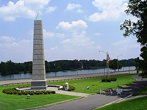Gadsden, Alabama - The Spirit of American Citizenship Monument on Rainbow Drive (US 411), just before the Broad Street Bridge. The Coosa River and East Gadsden are visible in the background.