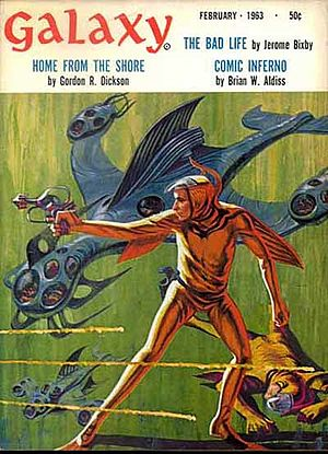 "Gordon R. Dickson - Dickson's novelette ""Home from the Shore"", cover-featured on the February 1963 issue of Galaxy Science Fiction, was collected in Mutants"