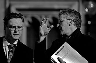 Gary Gibbon - Gary Gibbon, left, talks to Hilary Benn