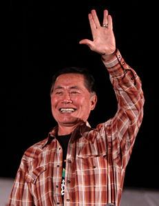 Vulcan salute wikipedia george takei a colleague of nimoy who portrayed the star trek character hikaru sulu in the original series salutes a crowd in 2011 m4hsunfo