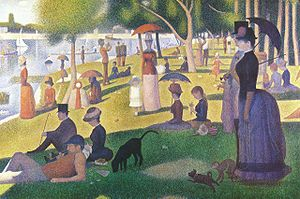 A pointillist painting with people in the park gazing out at a river